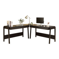 Monarch Specialties - Monarch Specialties I 7033-3 Cappuccino 3 Piece L-Shaped Computer Desk Set w/ St - Sleek and contemporary, this cappuccino 3pc desk set is the perfect combination of function, durability and design in a modern form. With clean lines and thick panels, this set will add style to any home office. Features 2 large pull out drawers in each desk for generous storage of supplies. A large desktop surface with the added corner wedge provides additional space for a more generous work station. Desk (2), Corner Wedge (1)