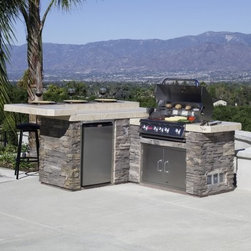 Bull Jr. Gourmet Q Grill Island - Drinks appetizers and dinner: serve them all up in style while you run the show behind the Bull Junior Gourmet-Q Grill Island. This huge L-shaped grill island features a large cooking area with a built-in 4+1-burner Bull Angus grill and a raised bar area with seating for at least for drinkers and dabblers. All things Junior Gourmet-Q point to the center where you'll be accessing the built-in refrigerator and access drawer to grill up meals that spice the conversation. The countertop is covered in gorgeous Albergo porcelain tile and the base is Dakota Brown brick that builds naturally into any backyard. It even has a GFCI electrical outlet in the side of the base so you can plug in your appliances and peripherals with ease. Available in your choice of Liquid Propane or Natural Gas supply the Bull Junior Gourmet-Q Grill Island fully is customizable with a huge array of additional features and finishes. Standard features include: Stucco Base Porcelain Tile Counter Top Angus Drop In Grill Stainless Steel Horizontal Access Door w/lock and Key Standard Stainless Steel Refrigerator and 1 GFCI Outlet. Priced as shown with the following upgrades: Rock/Stone Base Stainless Steel Double Doors. Bull Junior Gourmet-Q Grill Island Features (as shown): Angus grill with four 15 000 BTU stainless steel burners and 15 000 BTU infrared burner 600-square-inch primary cooking surface; 210-square-inch warming rack Dual-lined roll-top hood with seamless welded edges Bull Sure-Lite gas valves and knobs with build-in ignition Albergo porcelain tile countertop with raised bar seating Designed for guests to relax near the smells of the grill Dakota brown brick base with a rugged look that fits in most backyard decor Built-in stainless steel refrigerator with 4.5 cubic feet of storage Full-range temperature control and reversible door swing In-door beverage can dispenser Built-in horizontal stainless steel access door Easily reach gas lines tanks accessories a