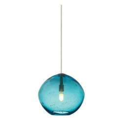 LBL Lighting - LBL Lighting Mini-Isla Aqua 1 Light Track Pendant - LBL Lighting Mini-Isla Aqua 1 Light Track PendantFeaturing appealing hand-blown organic seeded Aqua glass, this charming pendant will inject personality into any home or business while the included 35 watt xenon lamp provides ample lighting.Each Monopoint lighting fixture includes a single-point canopy with built-in transformer right out of the box for a quick and easy installation.LBL Lighting Mini-Isla Aqua Features: