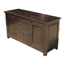 "Sierra Living Concepts - Shaker Rustic Wood Buffet 4 Drawer Storage Sideboard Cabinet - Celebrate the simple beauty of fine wood and old world craftsmanship with our Shaker Rustic Wood Buffet 2-Door 4-Drawer Storage Cabinet Credenza. This 54"" long sideboard maximizes your storage options with 2-shelf side cupboards and four middle drawers. The doors, drawers, and sides have unadorned framing."