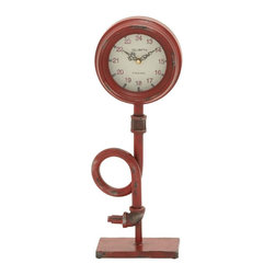 Benzara - Metal Clock, Creates Focal Point in Your Room - Add an artistic flavor to your decor with this metal clock. This attractively designed clock strikes a balance between classic decor and time keeping. You can place this clock in your living area to create a focal point within the room. The rustic appeal of this clock looks spectacular. The clock is glazed in red to highlight its unique features. The stand is crafted with precision to highlight the distinctive design of the clock. The uniquely shaped stand is styled perfectly so that your attention directly goes to the time telling hands. The clock face is round in shape and fashions a layered bezel. The clock is constructed on a metallic base which provides optimum support. It is sturdy and highly durable, will last you for a long time. The arresting assembly of the clock face and the entwining stand grabs attention immediately. It is sure to win you admiration from your guests for your choice of this home decor item..