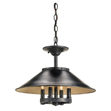 Darwin Ceiling Mount or Pendant  by Currey and Company - Darwin Ceiling or Pendant is constructed of metal with a French Black finish outside and an Antique White finish inside. Four 60 watt 120 volt B10 candelabra base incandescent lamps not included. 18 inch diameter x 14 inches high. Includes 72 inches of chain.