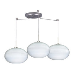 Besa Lighting - Besa Lighting 3JC-491307-LED Pape 3 Light LED Cord-Hung Pendant - The Pape is a wide yet compact handcrafted glass, with distinctive ridges, softly radiused to fit gracefully into contemporary spaces. Our Opal Ribbed glass is a soft white cased glass that can suit any classic or modern decor, blown into a faceted mold to create stylish texturing along the outer walls. Opal has a very tranquil glow that is pleasing in appearance. The smooth satin finish on the clear outer layer is a result of an extensive etching process. This blown glass is handcrafted by a skilled artisan, utilizing century-old techniques passed down from generation to generation. The cord pendant fixture is equipped with three (3) 10' SVT cordsets and a 3-light round canopy, three (3) suspension stemhooks included.Features: