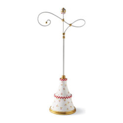 Grandin Road - Patience Brewster Large Christmas Ornament Displayer - Every Ornament Displayer is an individual masterpiece, impeccably handcrafted from initial drawing to application of the last thoughtful detail. Features two gracefully curving hooks for displaying a wide variety of ornaments. Masterfully and vibrantly hand painted in white, red, and gold. Crafted from high-quality stone resin. Instilled with Patience Brewster's unmistakable style, our Christmas Ornament Displayer creates a magnificent stage for showcasing her ornaments, or your own.  .  .  .  .