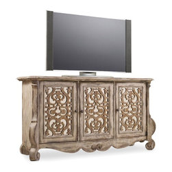 """Hooker Furniture - Chatelet Entertainment Console - White glove, in-home delivery included!  Come home to your little castle.  Relax in a livable luxury with Chatelet, a whole home collection inspired by timeless farm style antiques found in """"little castles"""" of Old World Europe."""