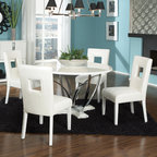 """Standard Furniture - Meridian 5 Piece Dining Set - The smooth clean architecture and geometric shapes of Meridian creates a trendy ultra-modern look. Its crisp white high gloss color and bright nickel color accents give it a fashion forward urban persona. A 48 Round Pedestal Table has a unique open form metal base in a bright nickel color, set onto a white pedestal base. Its smart chairs, upholstered in cool white PU, feature square geometric cut-outs in their backs as a focal point feature. Meridian is constructed of select solids, quality wood products and gloss laminate surfaces, with nickel color metal accents. This group may contain some plastic parts. Features: -Set includes table and four chairs. -Meridian collection. -White finish. -Pedestal bright nickel metal base. -48"""" Round table top. -Chairs upholstered in white PU. -Optional Sideboard features closed storage areas behind its flush doors with eye-catching nickel color insets, plus a floor level shelf for display of serving pieces or accessories. -Made in the USA. Dimensions: -Overall Table Dimensions: 30"""" H x 48"""" W x 48"""" D. -Chair: 38"""" H x 19"""" W x 24"""" D. -Sideboard: 40"""" H x 52"""" W x 18"""" D."""