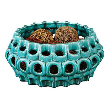 Uttermost Idola Ceramic Bowl - Pierced and crackled teal blue ceramic. Ornate ceramic bowl pierced and finished in crackled, teal blue.