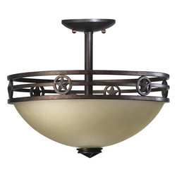 Quorum International - Quorum International 2828-15  Dual Mount Ceiling Fixture Lone Star Coll - *Two light dual mount ceiling fixture featuring Amber Scavo Glass