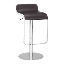 ZUO MODERN - Equino Barstool Espresso - With its slight lip back and flat seat, the Equino is comfortable and stylish. It has a washable leatherette seat, chrome plated steel frame, matte silver base, and adjustable lift from counter to bar.