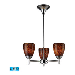 Elk Lighting - Elk Lighting Celina 3-Light Chandelier in Polished Chrome & Espresso Glass - Designed To Showcase Our Many Blown Glass Options  The Celina Collection Utilizes A Simplified Frame That Embellishes The Shape And Color Of The Glass. Finished In Polished Chrome Or Dark Rust. - LED  800 Lumens (2400 Lumens Total) With Full Scale Dimming Range  60 Watt (180 Watt Total)Equivalent   120V Replaceable LED Bulb Included