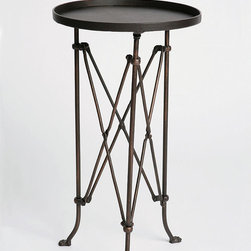 Metal Accordion Side Table - This is just fun. I've seen a lot of outdoor furniture styles, but this is the first one with accordion style legs. I also really like the utilitarian feel of the table top. It brings back memories of waiting tables - just the right size for a few cocktails.