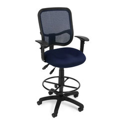 OFM - OFM Comfort Series Ergonomic Task Chair with Arms Draft Kit in Navy - OFM - Drafting Chairs - 130AA3DKA04 - It's all-day comfort and long-term style with OFM's Modern Mesh Ergonomic Task Stool 130-AA3-DK. The back features built-in lumbar support and breathable mesh provides hours of comfort. Plus the mesh and seat fabric are it stain resistant so the chair ke