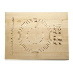 Embossed Maple Pastry Board - Crafted in America from natural maple, this handy baking tool is embossed in inches and diameters for rolling out piecrust and pizza and cookie dough to precise measurements. Helpful measurement conversions and reference weights are also included.