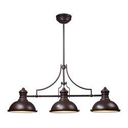 ELK Lighting - Three Light Oiled Bronze Pool Table Light - Three Light Oiled Bronze Pool Table Light