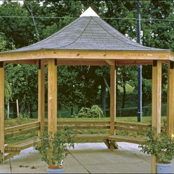 Fifthroom - 25' x 25' Laminated Wood Curved Roof Hexagon Victory Pavilion -
