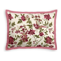 Pink Floral Bird Custom Sham - Stay classy, America!  Add a few Tailored Shams with crisp solid edging to create a bedset with the perfect mix of contemporary style and classic elegance. We love it in this stunning hand blockprinted chinoiserie-esque floral and bird motif in magenta, rose and green with shimmery hints of gold.