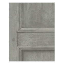 Kathy Kuo Home - Traditional Aged Wood Panel Wallpaper - Grey - The grain of wood meets the ease of paper in this trompe l'oeil wall covering. Available in five refined shades, it creates the stately look of paneling for your favorite traditional setting.