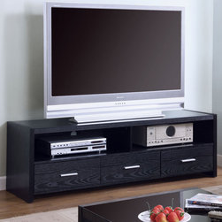 Coaster - 700645 TV Console - This modern TV stand offers ample shelves and drawers for audio/video. Finished in black.