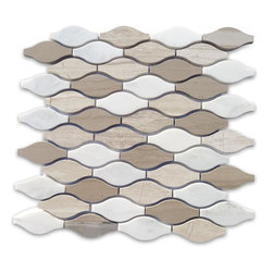 """GlassTileStore - Iota Ivory Dust Marble Tile - Iota Ivory Dust Marble Tile             Its stunning design and unique pattern will bring warmth and a natural ambience to your home. The mesh backing not only simplifies installation, it also allows the tiles to be separated which adds to their design flexibility.         Chip Size: 3"""" x 1/2-1 1/2""""   Color: Athens Gray, Wooden Beige and Asian Statuary    Material: Stone   Finish: Polished    Sold by the Sheet - each sheet measures 12 1/2"""" x 12 1/4"""" (1.06 sq. ft.)   Thickness: 10mm   Please note each lot will vary from the next.            - Glass Tile -"""