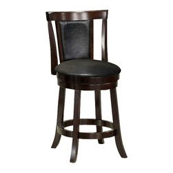 """Monarch Specialties - Monarch Specialties 1288 Swivel Counter Stool in Black and Cappuccino [Set of 2] - Add a touch of style to any dining room or game room with these 39"""" high swivel counter height stools. These black leather-look cushioned stools have sturdy solid wood legs and come in a beautiful rich cappuccino finish. Its full ring, well positioned footrest also offers stability and comfort. This piece is sure to be memorable throughout many evenings with friends and family."""
