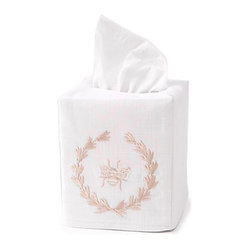 Tissue Box Cover, Bee Wreath Beige