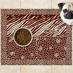 Sniff It Out Designer Pet Mats - Animal Print Pet Food Mat, Small - Premium-quality clear vinyl mats uniquely designed to resemble beautiful art painted directly onto your floor. The smoothness of the vinyl allows for easy cleanup and lays perfectly flat. Sniff It Out Pet Mats make great gifts and will be a conversation piece that your friends and family won't stop talking about. Made in the USA.