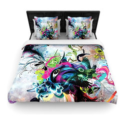 """Kess InHouse - Mat Miller """"Streaming Eyes"""" Multicolor Abstract Woven Duvet Cover (King, 104"""" x - Add a splash of artistically inclined comfort to the average down comforter with a large focus to your bed! Our duvet cover is made of a beautifully crafted woven polyester fabric on top and a comforting and soft cotton/poly blend on bottom! We highly recommend washing your artwork before laying it onto your bed for added comfort and softness! These are totally machine washable and won't fade!�"""