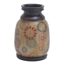 Benzara - Durable Terracotta Pot with Dainty Floral Motifs - Decorating a new home or reinventing your house decor will cease to be an ordeal! Thanks to this beautifully designed TERRACOTTA POT, you can get great design cues and also set up an artsy theme in your space. Use it to hold an eclectic surprise, such as upright stacks of semi-green grass, whole big bunch of flowers or anything else that appeals to your sense of decor. Be it your cabin at work or your living room, this pot speaks volumes about your sense of art. The upper portion of this pot features a scaly design pattern, which from a distance seems like the bubbling over of metallic paint when subjected to intense heat. The exquisite craftsmanship of this pot is beyond question. Being made from ceramic, this pot is tough and sports a bright and shiny black finish that is reminiscent of porcelain and also feels like it when touched.