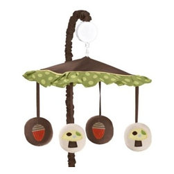 Sweet Jojo Designs - Sweet Jojo Designs Forest Friends Musical Mobile - The perfect addition to your nursery, the Forest Friends Musical Mobile from Sweet Jojo Designs features a darling mushroom and acorn design in warm earth-tones. This mobile enchants your child with its soft spin and soothing Brahms' Lullaby.