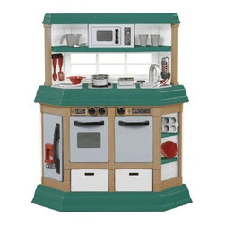 "American Plastic Toys Cookin Kitchen - Your budding little Sous Chef has the perfect opportunity to create extraordinary meals with the American Plastic Toys Cookin Kitchen-11940. This sturdy brightly colored kitchen in green tan and white makes it neutral for both boys and girls. Features realistic burners that light up and excite with realistic sound. Simply place the pot or pan onto a burner to activate the bubble and sizzle! American Plastic Toys Play Kitchen includes a microwave refrigerator oven and dishwasher and ample shelving space. Adding to the overall lively environment are two removable """"wicker"""" baskets. Use them as functional spaces to hold any added plastic food items or as tidy storage. Assembly required. Overall dimensions: 32.5L x 12.5D x 37.5H inches. The 22 play accessories are perfectly sized for children ages 3 and up and are just right for your tot. More importantly they're perfect for you. No more discussions over where your little ones can be while you're preparing a meal. With your child's very own American Plastic Toys Custom Kitchen your child can """"help"""" cook dinner away from the heat and chaos. A wonderful idea if we may say so ourselves! The color scheme of this kitchen is a throwback to those great kitchens of olive and avocado with nice pops of red pewter and white and designed to create a one-of-a-kind experience for child and parent. As you watch your child enter the world of culinary exuberance you can't help but reminisce about your grandmother's homemade chicken noodle soup. Such a treat! About American Plastic ToysSince 1962 American Plastic Toys had proudly manufactured safe toys in the United States. The company's product line includes more than 125 different items ranging from sand pails and sleds to wagons and play kitchens. American Plastic Toys manufactures every one of the toys in its product line in the United States. Most of the components in American Plastic Toys products are molded in the company's own plants or purchased from U.S. companies. Toys with imported components (mostly sound components and fasteners - no painted components) represent only 25 percent of the entire product line. Every American Plastic Toys product is tested by at laws one independent U.S. safety-testing lab to ensure that it complies with applicable safety standards."
