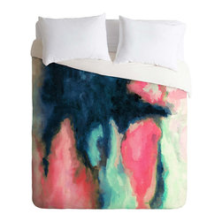 Bleeding Heart Duvet Cover - Abstract and boldly original, the Bleeding Heart Duvet Cover is a stunning addition to your bedroom decor. Sure to become the focal point, the duvet cover boasts rich hues of pink and blue that bleed into one another and create a striking watery effect. Exquisite use of color makes this a fabulous choice to spice up your decor. A hidden zipper and interior ties make this duvet a cinch to use.