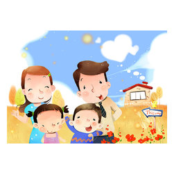 Custom Photo Factory - Portrait of Happy Family Canvas Wall Art - Portrait of Happy Family  Size: 20 Inches x 30 Inches . Ready to Hang on 1.5 Inch Thick Wooden Frame. 30 Day Money Back Guarantee. Made in America-Los Angeles, CA. High Quality, Archival Museum Grade Canvas. Will last 150 Plus Years Without Fading. High quality canvas art print using archival inks and museum grade canvas. Archival quality canvas print will last over 150 years without fading. Canvas reproduction comes in different sizes. Gallery-wrapped style: the entire print is wrapped around 1.5 inch thick wooden frame. We use the highest quality pine wood available. By purchasing this canvas art photo, you agree it's for personal use only and it's not for republication, re-transmission, reproduction or other use.