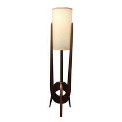 Used Mid-Century Atomic Teak Lamp - This Mid-Century Atomic style teak floor lamp stands at nearly 3 feet tall, and is in excellent vintage condition. It includes the original fiberglass shade. There is some slight tarnishing on the brass pole and one shade spoke inside came unleaded, but neither are very nor affect the piece.
