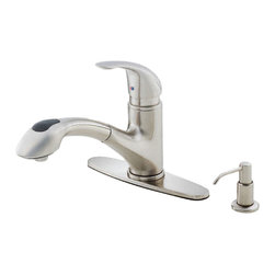 "Danze - Danze D454612SS Kitchen Pull-Out Stainless Steel - Danze D454612SS Stainless Steel Single Handle Pull-Out Kitchen Faucet is part of the Melrose Kitchen collection.  D454612SS Pull-Out Kitchen Faucet is a 2 hole mount with 9"" long and 8"" high spout.  Optional deck plate included.  D454612SS Pull-Out Kitchen Faucet has 2 functions spray/aerated stream, and includes brass soap/lotion dispenser.  Single lever handle meets all requirements of ADA.  California and Vermont compliant."