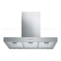 "Spagna Vetro - SPAGNA VETRO 36; SV198Z-36 Wall-Mounted Stainless Steel Range Hood - Mounting version - Wall Mounted 860 CFM centrifugal blower  Three-speed mechanical, soft-touch push button control panel Two 35W halogen lights (Type: GU-10)  Aluminum multi-layers micro-cell dishwasher-friendly grease filter(s) Machine crafted stainless steel (brushed finish) 6"" round duct vent exhaust and back draft damper  Convertible to duct-free operation (requires optional charcoal filter) Telescopic flue accommodates 8ft to 9ft ceilings (optional flue extension available for up to 10ft ceiling)  Full Seamless Stainless Steel For residential use only, one-year limited factory warranty"