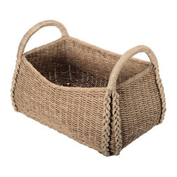 Kouboo - Large Sized Rectangular Sea Grass Basket - Delicately woven by hand, this large basket is crafted from chunky sea grass, an unusual marine flowering plant that is often used for weaving. This sea grass basket's large size makes it perfect for housing bulky or sizable objects. Sturdy woven handles allow for easy carrying and transporting. A beautiful natural finish makes this sea grass basket a charming accent piece for any room, even when left empty. 1 year limited warranty.