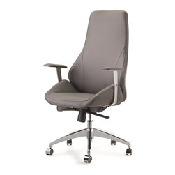 Pastel Furniture - Pastel Furniture Canjun Office Chair X-690-LA-HC-461-JC - The Canjun Office Chair is beautifully crafted chair that works in any and every office space. The chair and arm rest is comfortably upholstered in Pu Gray, Pu Ivory, or Pu Black and constructed with a sturdy Chrome-Aluminum frame with wheel casters. It features adjustable tilt tension control and lift adjustable seat height. This chair will brighten any room and features executive styling that will be ideal in modern, open spaces.
