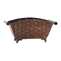 """Nearly Natural - Regal Rectangle Planter - Stands sturdy on four legs. Ready for any decor. Makes a fine accent piece. Brown color. 14.75 in. L x 7 in. W x 6 in. HThis beautiful metal container perfectly fits the bill if """"rustic"""" and/or """"natural"""" is your theme. Great for home or office. This metal container is ready to house whatever decoration or arrangement you wish to place inside. Some people want to make their own artificial arrangements, and just want an awesome planter to put them in. Makes a fine accent piece on its own as well."""