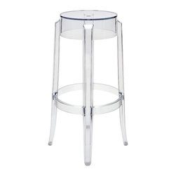 Kathy Kuo Home - Klipper Clear Acrylic Modern Round Bar Stool - Pair - This pair of acrylic bar stools is clearly superior because of the classic, molded seat and highly polished finish. Sculpted with modern lines, while maintaining a nostalgic feel, this stool will be a favorite seat at the bar in the great room. When not using the stools, these space-savers stack neatly away.