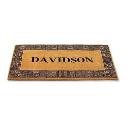 """Frontgate - 30-inch x 48-inch Greek Key Personalized Door Mat - Frontgate - Natural coir fibers are woven into a dense pile for ultimate durability. Cut to a full 1-1/2"""" pile, the mat retains its shape and won't slip. Quickly whisks dirt and debris away from shoes. Your monogram will be hand-stenciled at the center free of charge. View complete care instructions. Our Personalized Greek Key Door Mat features hardworking, mildew-resistant coir composition coco fiber that traps soil and water. This mat is customized with your name, lending a personal touch to your entrance. .  .  . . . Please note, personalized items are nonreturnable."""