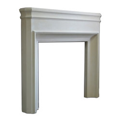Distinctive Mantel Designs - Bradley Mantel, Stoney Ground - The Bradley mantel is a slim-profile, transitional mantel with loads of visual interest for its size.  Perfect for bedrooms, bathrooms, or any space where a large mantel is not needed.