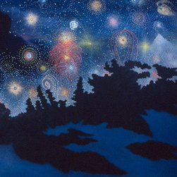 "Original oil painting by Patricia Waldygo - ""Dream Containing Time Travel Instructions"" painting - A large oil painting (58"" X 72"") of a dark blue night sky with red, yellow, and white stars and constellations exploding like fireworks. This portrays a dream in which the artist was instructed that the way to travel through time was to plunge into the wormhole near the Horsehead Nebula. The dream occurred in 1978, before she had any recollection of reading about this theory of time travel in the mass media. In the foreground, black branches of sea grape trees are silhouetted against the sky, and coral rocks show jagged patterns against the blue-toned sand. (Photo credit: Patricia Waldygo) FREE SHIPPING within the lower 48 U.S. States, which includes a wooden crate built to the painting's specifications. Return Policy: Paintings can be returned within one week for a full refund, minus the shipping and crate charges to the buyer that the artist paid for. Return shipping charges must be paid by the buyer."