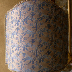 Half Lampshade Fortuny Fabric Richelieu in Indigo Blue & Gold Shield Lamp Shade - This pretty lampshade is handmade using Fortuny fabric Richelieu in indigo blue and gold, finished with blue and gold trim