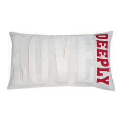 5 Surry Lane - Modern Cotton Applique Word Decorative Pillow LOVE DEEPLY neutral red - Neutral with a pop of color, our word pillow will go with any design aesthetic or color scheme.  The popular style is more sophisticated than ever!  100% cotton.  Down insert.  Hidden zipper closure.  14x24.  Hand wash cold water.