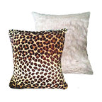 """Tomova Jai Designs - Extreme Luxury Collection: Soft Cocoa Brown Faux Fur and Leopard, 20inx20in, Coc - Brown plush faux fur and leopard print Pillow 16""""x16���"""