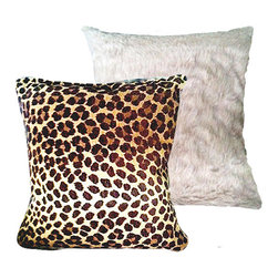 "Tomova Jai Designs - Extreme Luxury Collection: Soft Cocoa Brown Faux Fur and Leopard, 20inx20in, Coc - Brown plush faux fur and leopard print Pillow 16""x16���"
