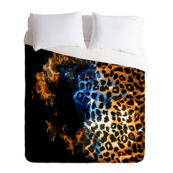 DENY Designs - Caleb Troy Leopard Storm Duvet Cover - Turn your basic, boring down comforter into the super stylish focal point of your bedroom. Our Luxe Duvet is made from a heavy-weight luxurious woven polyester with a 50% cotton/50% polyester cream bottom. It also includes a hidden zipper with interior corner ties to secure your comforter. it's comfy, fade-resistant, and custom printed for each and every customer.