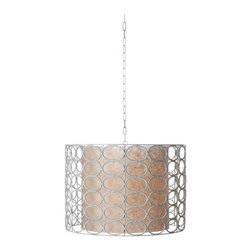 Lazy Susan - Lazy Susan White Drum Oval Ring Lamp X-600664 - Made from natural wicker and metal