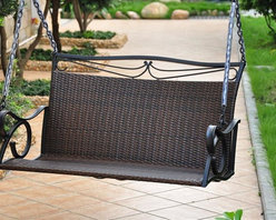 International Caravan - Hanging Patio Swing in Chocolate Finish - Includes 4 ft. chain. Patio swing stand not included. Equipped with a strong and durable brown matte powder coated steel frame. All weather resistant and UV light fading protection against sun. Made from steel frame and resin wicker. Assembly required. 87 in. W x 46 in. D x 51 in. H (90 lbs.)The Valencia patio swing ensure long lasting enjoyment and strength.