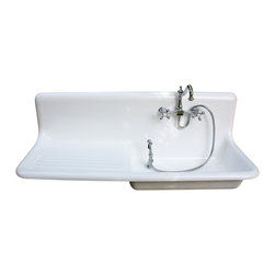 American Standard - Consigned 1927 American Standard Cast Iron Farm Sink, (54 X 20) Highback! - 1927 American Standard Cast Iron Farm Sink, (54 X 20) Rolled Rims & Highback! Refinished in Bright White, New Faucet, Drain & Strainer